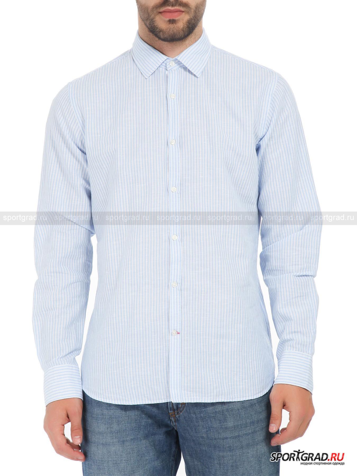 Рубашка мужская из хлопка и льна MARINA YACHTING