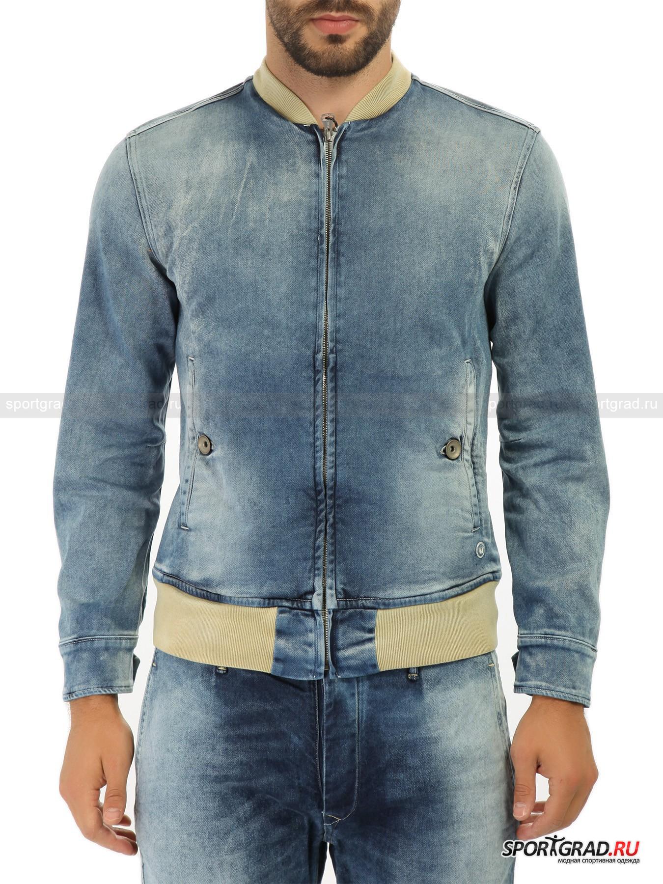 Куртка джинсовая WRIGHT`SВетровки<br>Джинсовый total look в этом сезоне вернулся в моду вместе с подзабытыми уже джинсовыми куртками. Многие марки представили свои версии этой вещи, и здесь вы видите вариант от итальянского бренда Wright's.<br>Как и все вещи Wright's, куртка выглядит потертой и будто бы ношеной. Деним тонкий и очень мягкий, не царапающий кожу.<br><br>Другие особенности модели:<br>- трикотажный пояс и воротник;<br>- два кармана на пуговицах;<br>- манжеты на пуговицах;<br>- фронтальная молния.<br><br>Пол: Мужской<br>Возраст: Взрослый<br>Тип: Ветровки<br>Рекомендации по уходу: стирка при температуре до 30 С; не отбеливать; гладить при температуре до 110 С; сухая химическая чистка; нельзя сушить в стиральной машине<br>Состав: 99% хлопок, 1% полиуретан