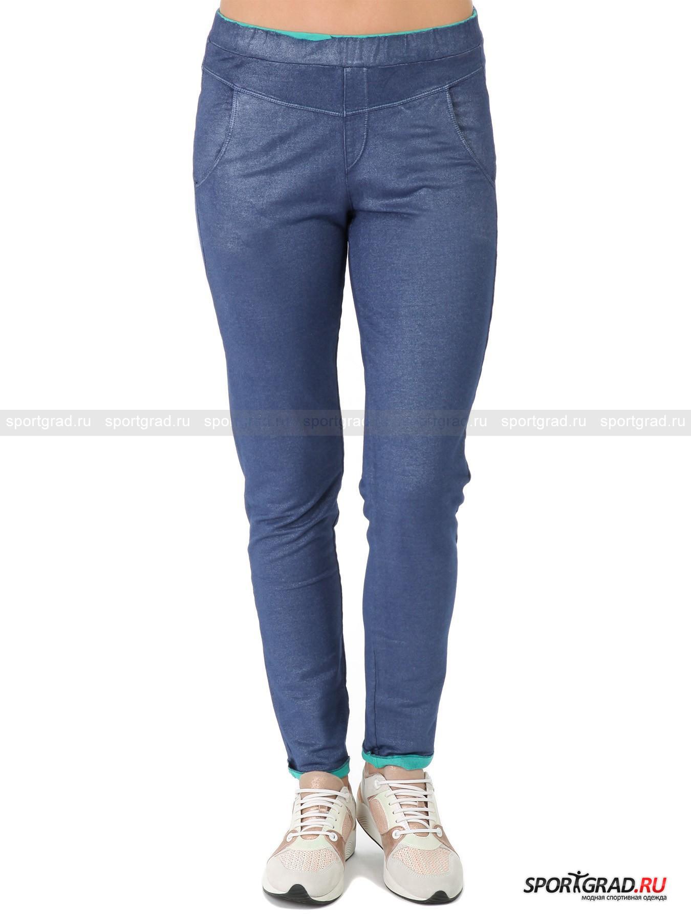 Брюки женские DEHAБрюки<br>Мягкие и эластичные брюки-леггинсы Deha – легкий способ создать эффектный образ. Они очень удобны, так как ткань изготовления приятная на ощупь и превосходно тянущаяся, штаны не имеют застежек и держатся только с помощью пояса на резинке. Легкий блеск по всей поверхности смотрится благородно и ненавязчиво, отвороты мятного цвета придают вещи игривость и свежесть. Также имеются два кармана по бокам и два сзади, фирменная нашивка и кокетка, формирующая соблазнительный силуэт ягодиц.<br><br>Пол: Женский<br>Возраст: Взрослый<br>Тип: Брюки<br>Рекомендации по уходу: стирка в теплой воде до 30 С; не отбеливать; гладить слегка нагретым утюгом (температура до 120 C); только сухая чистка; нельзя выжимать и сушить в стиральной машине<br>Состав: 96% хлопок, 4% эластан; изнанка 100% хлопок