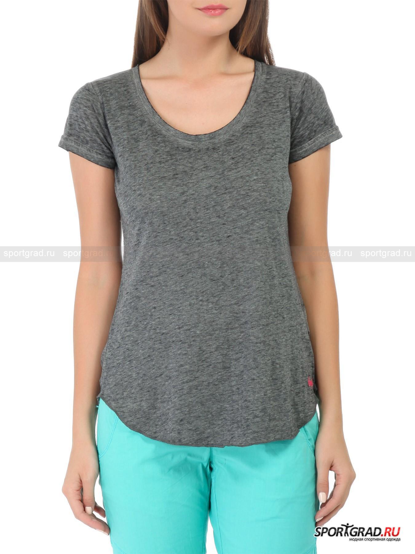 Футболка женская CMP CAMPAGNOLOФутболки<br>Свободно сидящая однотонная футболка CMP Campagnolo выглядит очень эффектно за счет неоднородной окраски, придающей вещи слегка винтажный вид, очень модный уж несколько лет подряд. Она тонкая, легкая  и потрясающе мягкая на ощупь  и подойдет как для повседневной носки, так и для тренировок.<br><br>Пол: Женский<br>Возраст: Взрослый<br>Тип: Футболки<br>Рекомендации по уходу: стирка в теплой воде до 40 С; не отбеливать; гладить слегка нагретым утюгом (температура до 110 C); химическая чистка влажным способом; нельзя выжимать и сушить в стиральной машине<br>Состав: 60% хлопок, 40% полиэстер