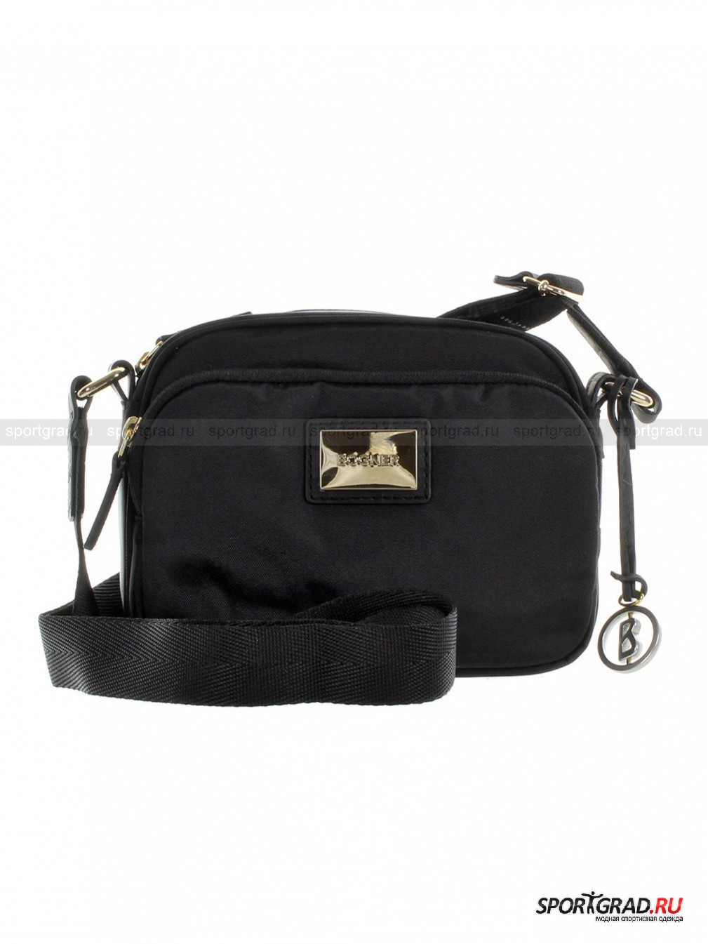 Сумка Aurum-Habana BOGNERСумки<br>Прелестная сумочка Aurum Habana Bogner имеет форму чемоданчика, что позволяет ей, несмотря на небольшие размеры, быть довольно вместительной. Туда легко можно сложить все необходимые вещи: кошелек, смартфон, ключи, влажные салфетки, пудру, помаду и прочие мелочи. Сумка изготовлена из прочного износостойкого нейлона, дополненного нубуковыми вставками. Золотистая фурнитура эффектно смотрится на контрасте с черной поверхностью.<br><br>Особенности модели:<br>- основное отделение на молнии;<br>- внутри карман на молнии и маленькие кармашки для телефона и пластиковых карт:<br>- снаружи еще один карман;<br>- ремень с регулирующейся длиной;<br>- в комплекте брелок: фирменный логотип Bogner на кожаном ремешке.<br><br>Пол: Женский<br>Возраст: Взрослый<br>Тип: Сумки<br>Рекомендации по уходу: Протирать мягкой тканью.<br>Состав: Нейлон, натуральный нубук.