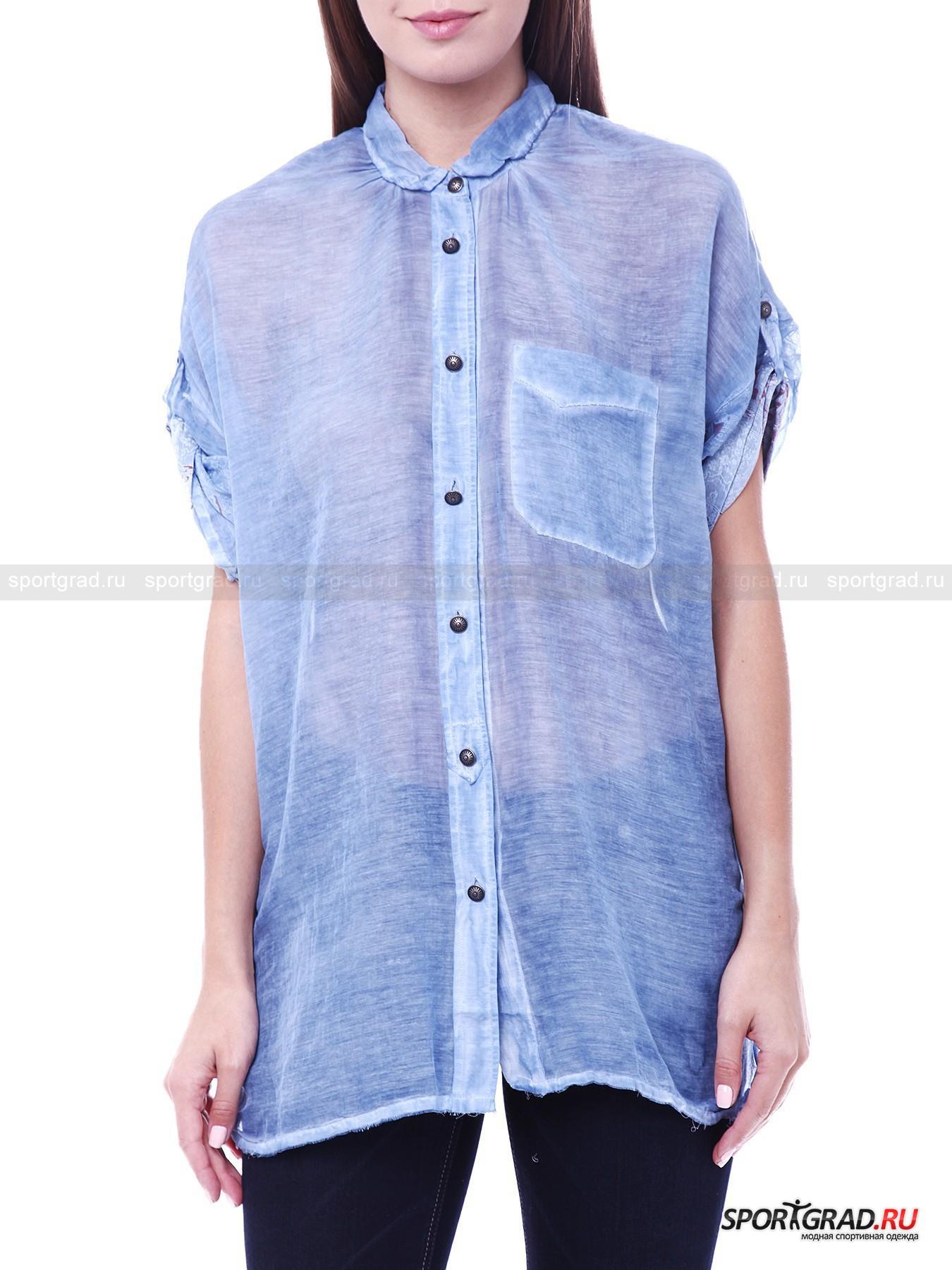Рубашка женская прозрачная RUDE RIDERSФутболки<br>Нежно-голубая рубашка Rude Riders выполнена в соответствии с актуальными модными тенденциями, предписывающими носить полностью прозрачную одежду. Сейчас подобные вещи можно надевать прямо на тело, однако не каждая девушка решится на такое – на этот случай можно легко вписать рубашку в многослойный комплект.<br><br>Материал изготовления на треть состоит из шелка, он очень приятен на ощупь и выглядит просто потрясающе. Рубашка застегивается на пуговицы по всей длине (запасная пуговица прилагается) и снабжена кармашком на груди. Длина рукавов регулируется.<br><br>Пол: Женский<br>Возраст: Взрослый<br>Тип: Футболки<br>Рекомендации по уходу: стирка в теплой воде до 30 С; не отбеливать; гладить слегка нагретым утюгом (температура до 110 C); разрешена сухая химическая чистка; нельзя выжимать и сушить в стиральной машине<br>Состав: 70% хлопок, 30% шелк