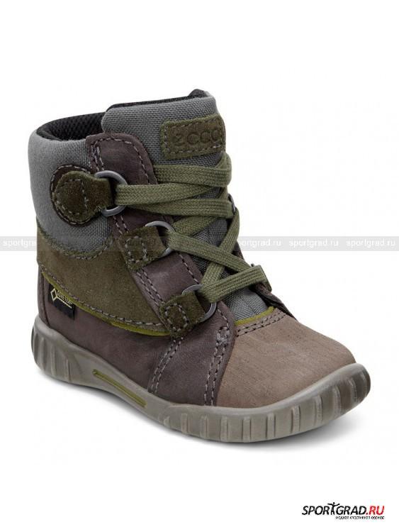 Ботинки детские Mimic ECCOБотинки<br>Симпатичные демисезонные ботиночки для малышей из знаменитой серии Mimic Ecco, идеально подходящей на первые шаги. Легкая, гибкая, анатомически правильная обувь позволяет ребенку чувствовать себя максимально свободно и комфортно. <br><br>Ботинки снабжены фирменной мембранной технологией Gore-Tex, что делает их абсолютно водонепроницаемыми и при этом «дышащими». В них можно спокойно гулять по лужам, не боясь промочить ноги. Высокая шнуровка надежно фиксирует ножку, протектор на носке повышает срок службы изделия.<br><br>Возраст: Детский<br>Тип: Ботинки<br>Рекомендации по уходу: Чистить специальной щеткой. Не сушить вблизи отопительных приборов.<br>Состав: Материал верха: замша, нубук, текстиль; подкладка: 50% акрил, 50% полиэстер; стелька: полиэстер; подошва: полиуретан.