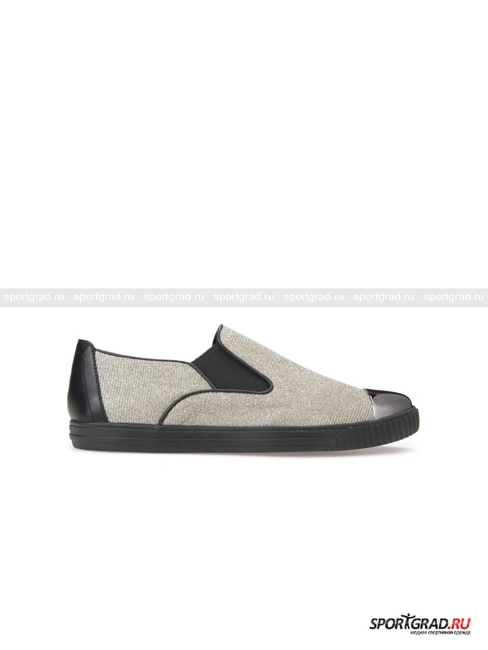 Слипоны женские Amalthia GEOXКроссовки<br>Фантастические слипоны Amalthia Geox точно не позволят Вам остаться незамеченной в любом окружении и даже самый простой образ превратят в эффектный и нарядный. В то же время, несмотря на покрытую блестками поверхность и лакированные носы, эта обувь не выглядит чересчур вызывающе.<br><br>Кроме яркого внешнего вида, слипоны отличаются функциональностью: здесь присутствует фирменная технология Respira, позволяющая ногам «дышать» благодаря отверстиям в подошве и водонепроницаемой мембране.<br><br>Пол: Женский<br>Возраст: Взрослый<br>Тип: Кроссовки<br>Рекомендации по уходу: Протирать мягкой тканью.<br>Состав: Верх: синтетические материалы, внутри текстиль