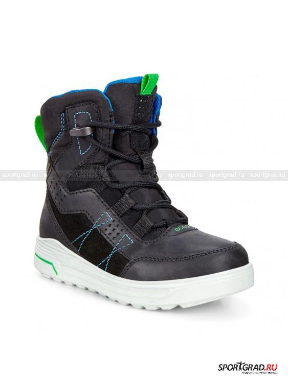 Ботинки для детей и подростков Urban Snowboarder ECCOБотинки<br>Зимние ботинки Urban Snowboarder Ecco – удачный компромисс между стильной городской и функциональной трекинговой обувью. Эти ботинки отлично смотрятся в паре с любыми куртками и парками, они быстро надеваются  и благодаря своей легкости и гибкости гарантируют полный комфорт. <br><br>Ботинки снабжены мембраной Gore-Tex, делающей обувь абсолютно водонепроницаемой снаружи. При этом изнутри влага может выходить беспрепятственно, что позволяет ногам всегда оставаться сухими и свежими.<br><br>Возраст: Детский<br>Тип: Ботинки<br>Рекомендации по уходу: Использовать средства ухода для обуви из замши и нубука. Не сушить вблизи отопительных приборов.<br>Состав: Материал верха: замша, текстиль, нубук; подкладка: 60% акрил, 40% полиэстер; стелька: полиэстер; подошва: полиуретан.